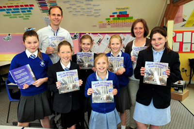 Philip Bell with Year 5 children at Newchurch School Copyright Isle of Wight County Press 2012