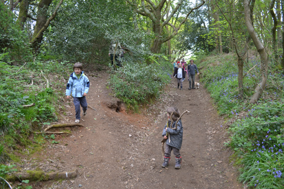 Families and children walking at the spring Wild Wood Walk 2013