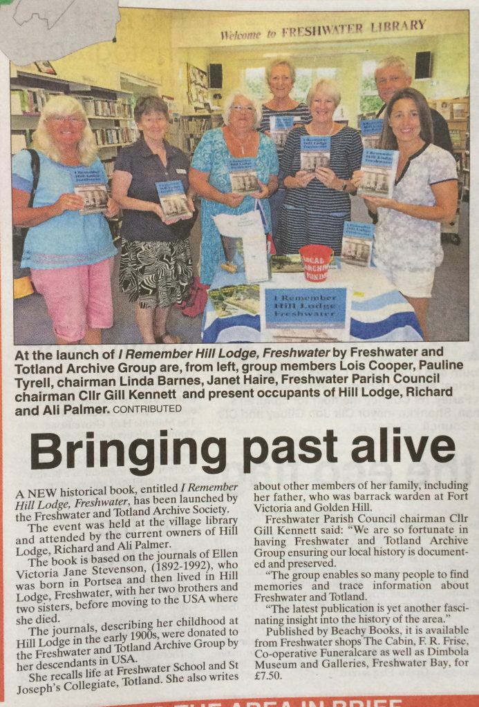 I Remember Hill Lodge book launch at Freshwater Library, Isle of Wight